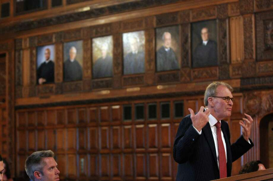 Defense attorney Terence L. Kindlon makes his case to the justices of the New York State Court of Appeals during the appeal of Christopher Porco's murder and attempted murder conviction, on Tuesday Sept. 13, 2011, in Albany, N.Y. Christopher Horn, lower left, is an attorney who handles appeals for the Albany County District Attorney's office, presented the oral argument on behalf of prosecutors seeking to sustain Porco's conviction. (Philip Kamrass/Times Union archive) Photo: Philip Kamrass / 00014607A