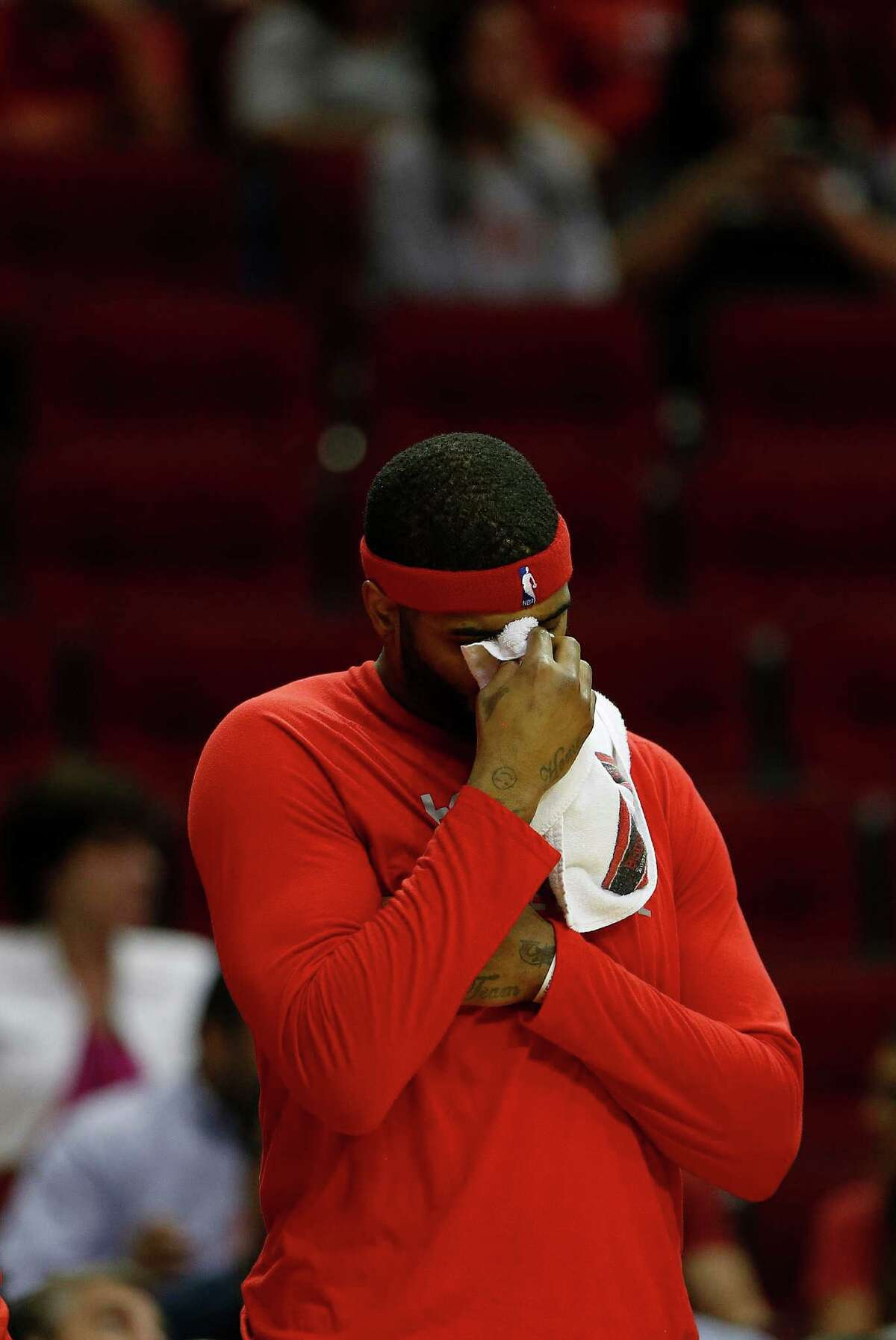 Houston Rockets center Josh Smith (5) reacts on the bench in the final mint of the game during the second half of an NBA basketball game at Toyota Center, Thursday, April 7, 2016, in Houston. Rockets lost to Phoenix 124-115.