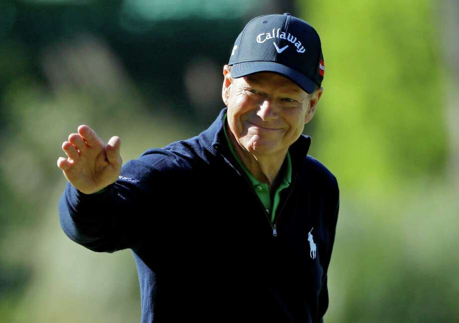 Tom Watson, 66, may not possess his game of yesteryear, but the two-time Masters champion still retains his legion of fans at Augusta National, which he regular acknowledged during Thursday's 2-over 74. Photo: Jae C. Hong, STF / AP