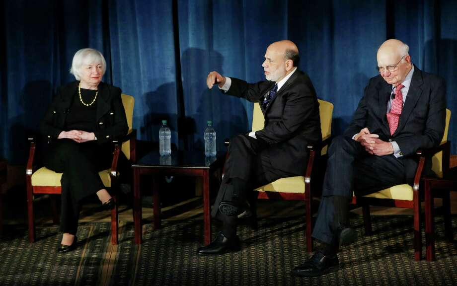 Federal Reserve chair Janet Yellen, left, former Federal Reserve chairs Ben Bernanke, center, and Paul Volcker, right, appear together, Thursday, April 7, 2016, in New York. The panel is geared toward millennials and focused on decision-making with international implications. (AP Photo/Kathy Willens, Pool) Photo: Kathy Willens, POOL / AP