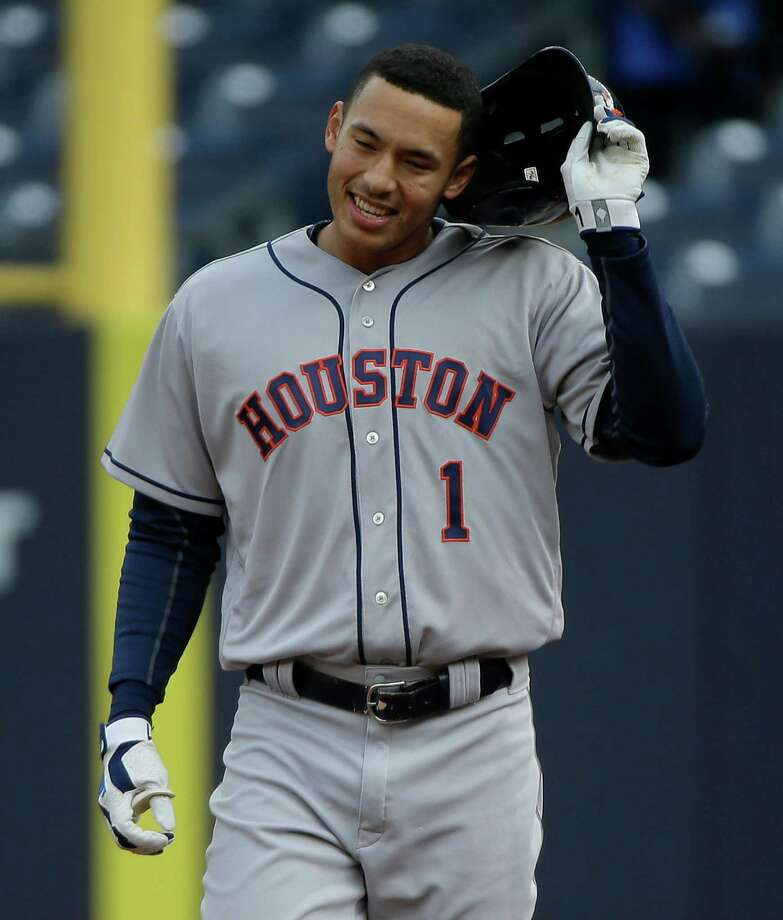 Astros star Carlos Correa is off to a hot start this season with three homers in three games. Photo: Julie Jacobson, STF / Copyright 2016 The Associated Press. All rights reserved. This material may not be published, broadcast, rewritten or redistributed without permission.