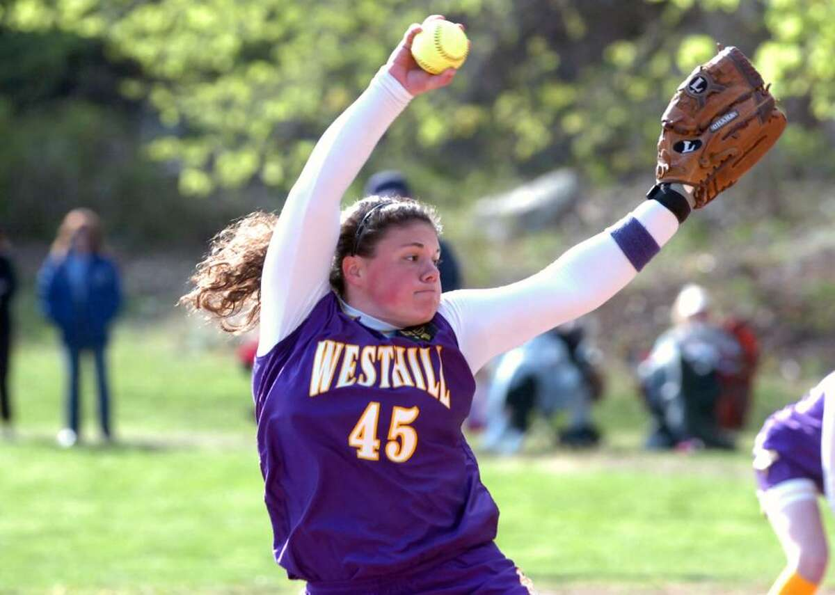 Westhill pitcher Jen Joseph in action as Westhill High School hosts Fairfield Ludlowe in a girls softball game Tuesday, April 13, 2010.