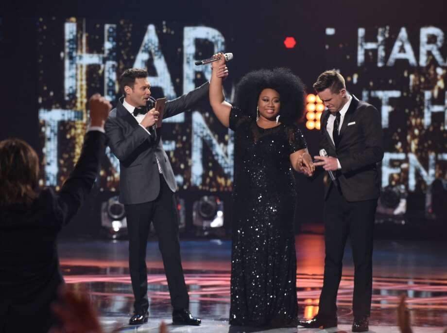 "WINNING IDOL MOMENTSHost Ryan Seacrest, Contestant La'Porsha Renae and Trent Harmon, the final ""Idol"" winner."