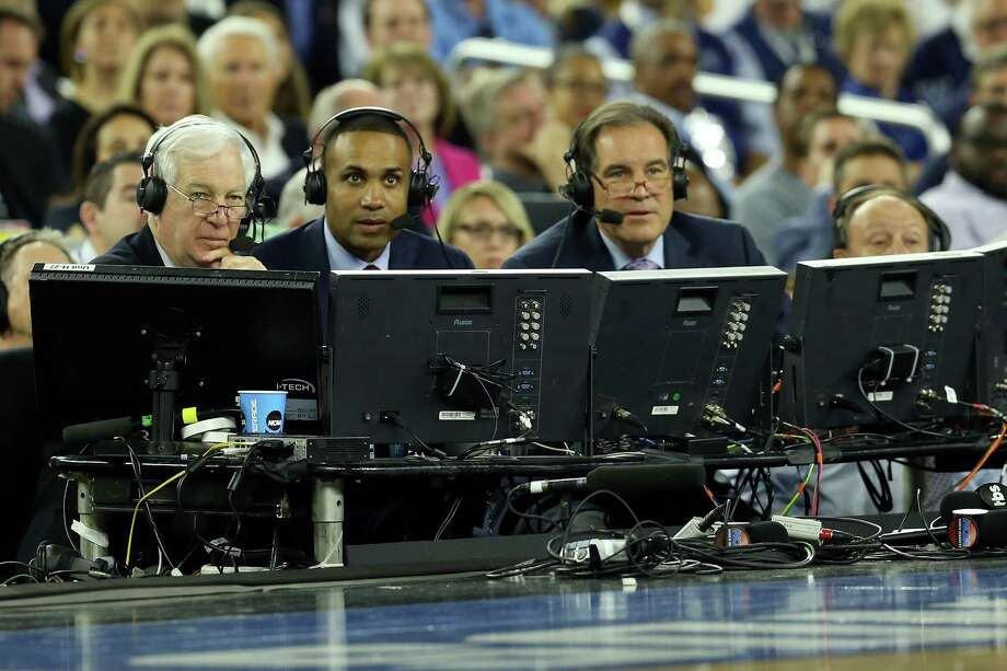 Bill Raftery, left, shown with Grant Hill, center, and Jim Nantz at the NCAA Men's Final Four semifinal at NRG Stadium, has snagged a Sports Emmy nomination for game analyst. Photo: Streeter Lecka, Staff / 2016 Getty Images