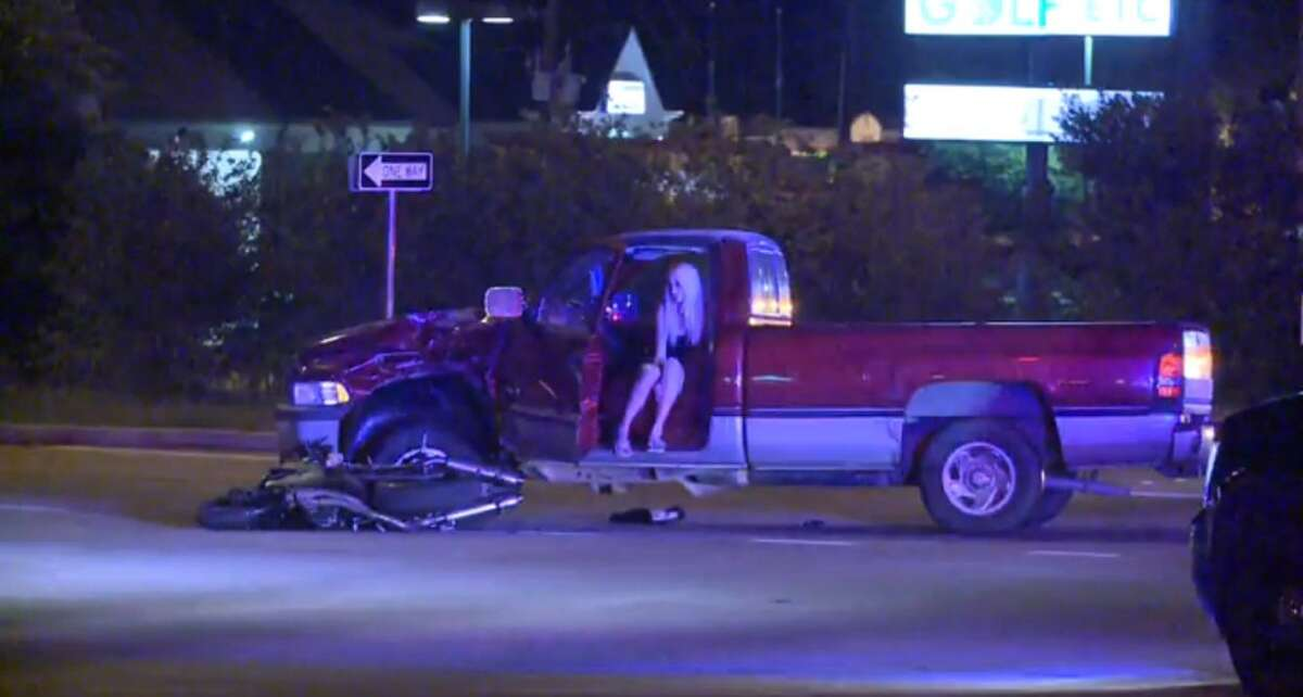 FM 1960 near U.S. 59 is shut down in both directions early Friday morning after a motorcyclist died when he slammed into a pickup as he sped away from police in north Houston.