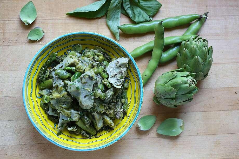 Joyce Goldstein's braised artichokes, favas and lettuce. Photo: Liz Hafalia, The Chronicle