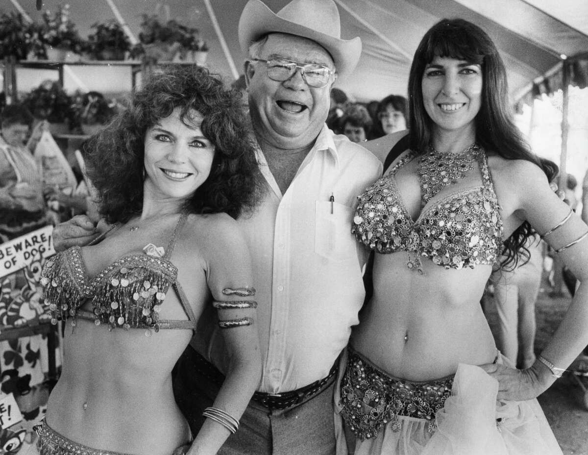 Belly dancers please the patrons at the Poteet Strawberry Festival in 1987. Left to right: Carol Shannon, Clem Crowley and Brenda Templeton.