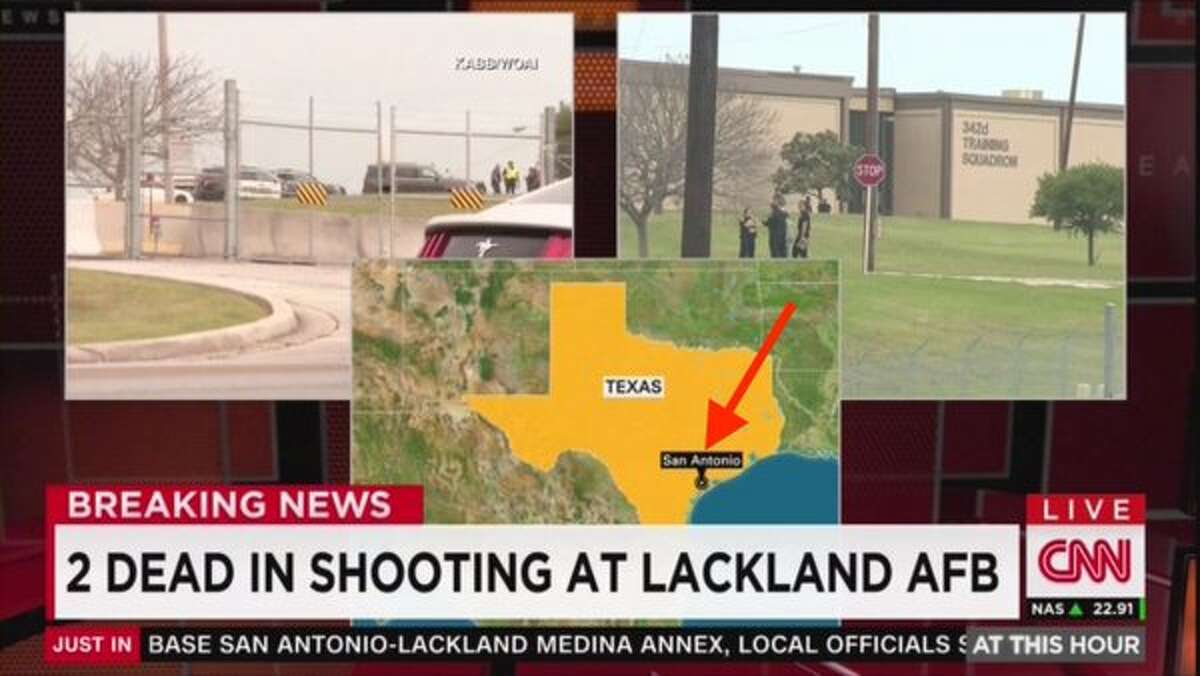 CNN mistakenly pegged San Antonio on the Texas coast in their national coverage of the apparent murder-suicide at the Medina Annex of Lackland Air Force Base on April 8, 2016.