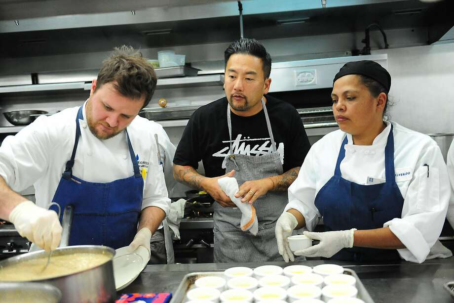 Chef Roy Choi oversees his dish in the kitchen during an event in Napa in 2013. Photo: Susana Bates, Special To The Chronicle