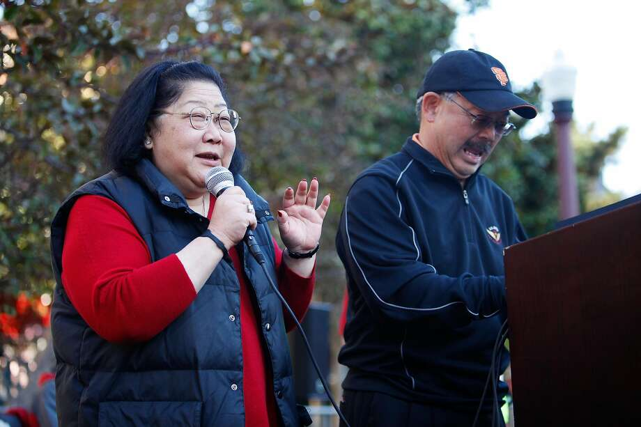 Mayor Edwin M. Lee invited Rose Pak to speak a few words at the Chinatown's Ping Pong Tournament in San Francisco, Calif. in this file photo from Aug. 26, 2012. Pak died on Sunday. Photo: Sonja Och, The Chronicle