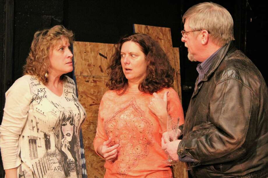 "Rehearsing a scene for the Town Players of Newtown production of ""Murder Among Friends"" are, from left, Linda Gilmore (Angela), Michele Leigh (Gert) and Rob Pawlikowski (Palmer). The show runs Friday, April 15, through Saturday, May 7. Photo: Contributed Photo"