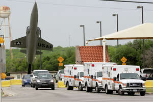Emergency personnel respond to the shooting, which was the second on a military base in San Antonio since 2013, when a man wounded a female active-duty captain at Joint Base San Antonio-Fort Sam Houston.