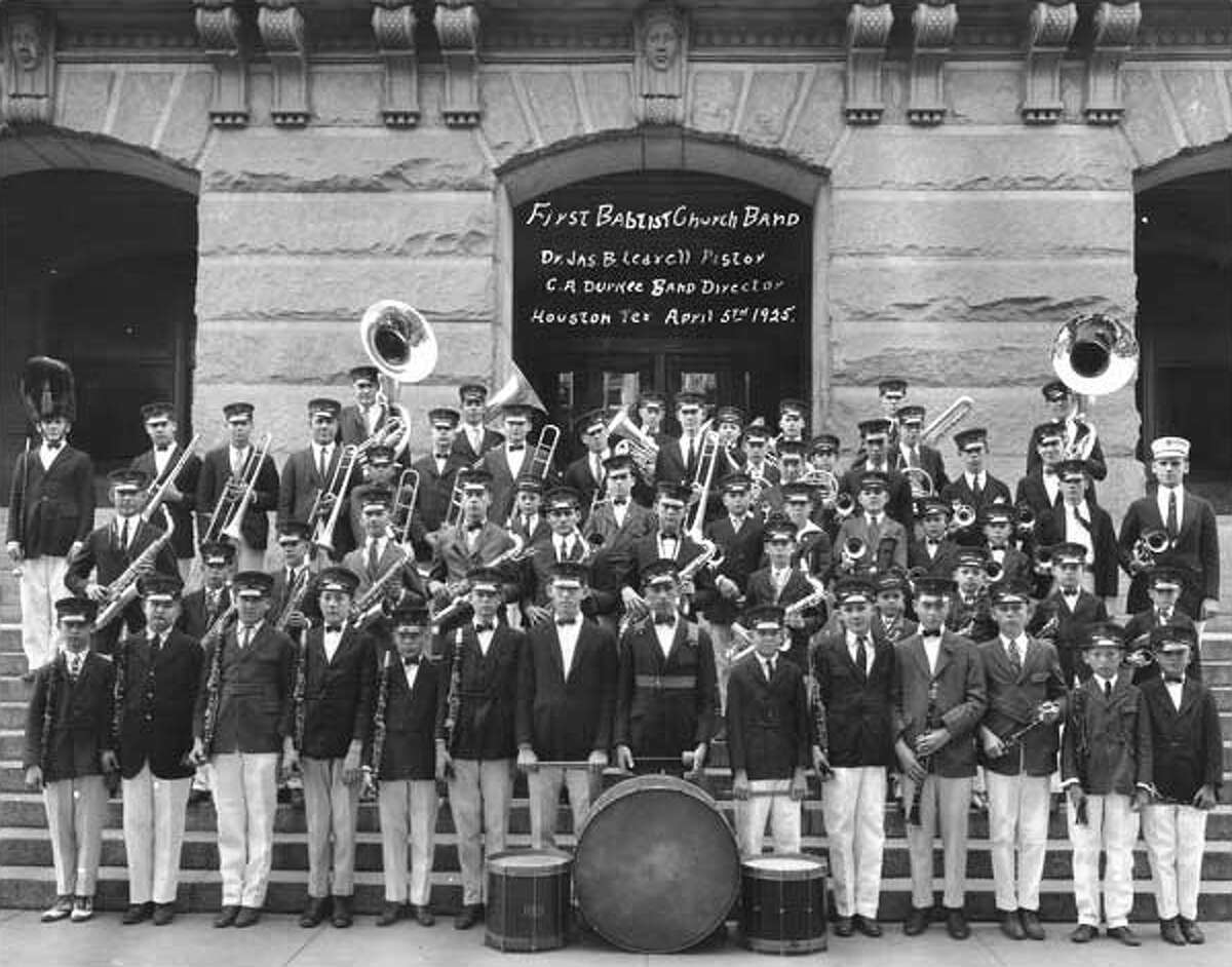 First Houston Baptist Church all-male band stand outside of the church in 1925.