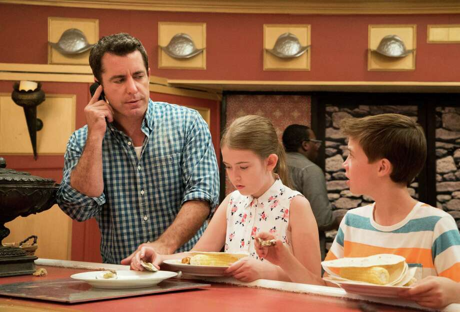 "Jason Jones, Ashley Gerasimovich and Liam Carroll as a feckless family in ""The Detour."" Photo: TINA ROWDEN / Tina Rowden / TM & (c) Turner Entertainment Networks. A Time Warner Company. All Rights Reserved."