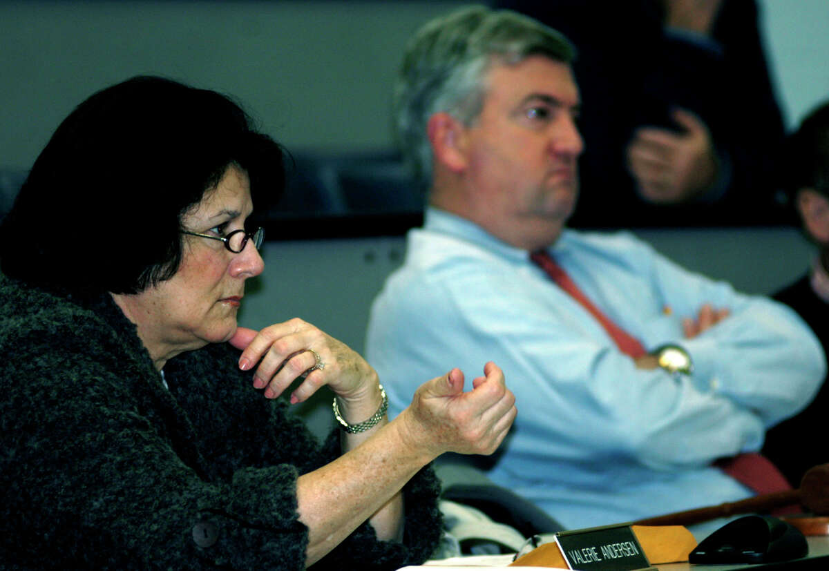 Region 12 Board of Education Finance Committee chairwomanValerie Andersen and board chairman James Hirschfeld during a budget hearing. File Photo.