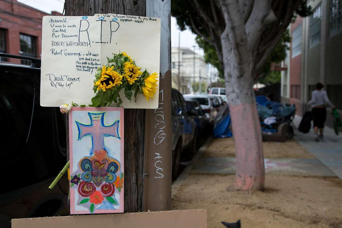 A memorial is set out for a homeless man who died yesterday near 19th and Shotwell streets, Friday, April 8, 2016 in San Francisco, Calif. S.F. police shot and killed the homeless man who was reported to have charged at officers with a kitchen knife on April 7.