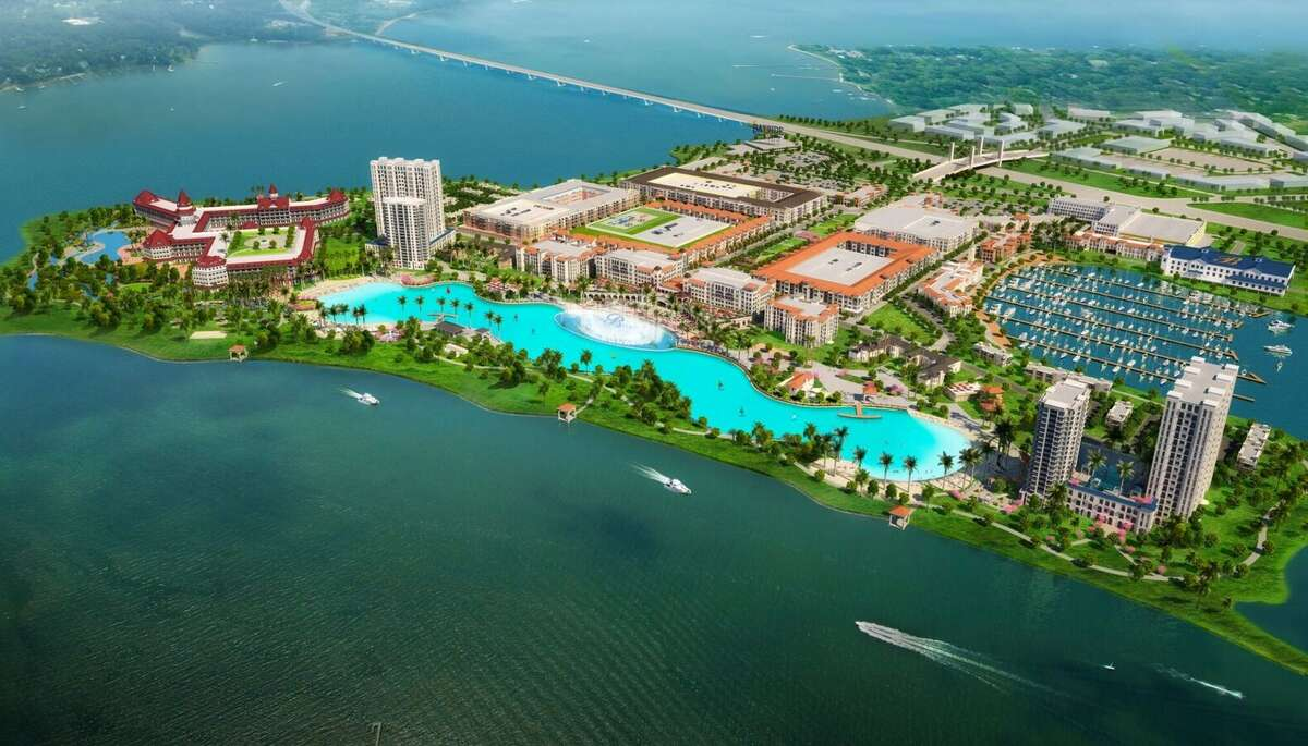 Renderings of Crystal Lagoon's plans for the Rowlett site, construction set to begin April 26. Click through the slideshow to see other projects around the world from Crystal Lagoons.