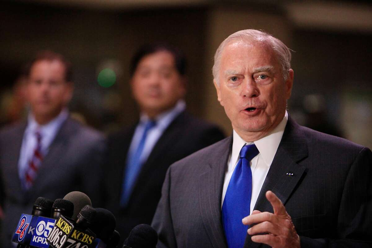 John McPartland (right), BART director, speaks during a press conference on BART's earthquake preparedness at the Embarcadero BART station on Monday, August 25, 2014 in San Francisco, Calif.