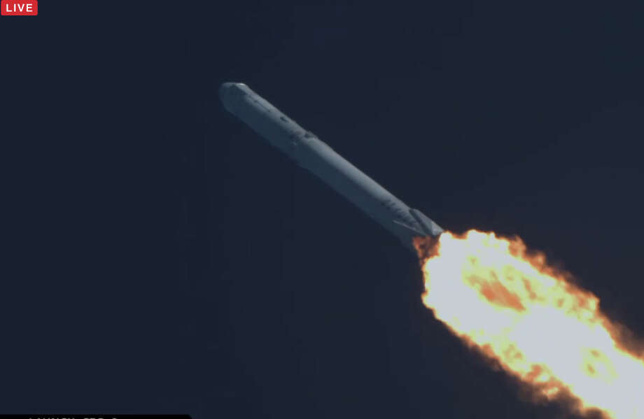 After its successful launch on Friday, SpaceX landed its first-stage rocket booster on an ocean barge off Cape Canaveral, Fla., on Friday. Photo: SpaceX
