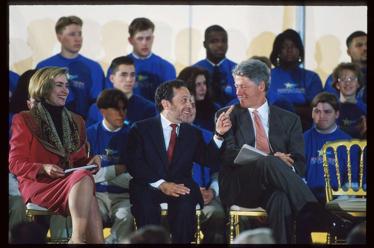 207260 01: (NO NEWSWEEK - NO USNEWS) Secretary of Labor Robert B. Reich sits between President Bill Clinton and First Lady Hillary Clinton at an education event May 4, 1994 in Washington, DC. Reich's School-to-Work Opportunities Act, which the President signed into law in 1994, helps prepare young people for further education and careers in high-skill, high-wage jobs. (Photo by Dirck Halstead/Liaison)
