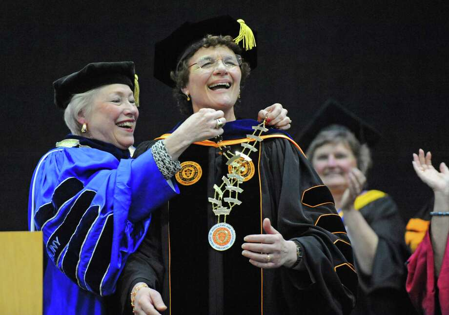 SUNY Chancellor Nancy Zimpher performs the investiture of Marion A. Terenzio as SUNY Cobleskill president on Friday April 8, 2016 in Cobleskill, N.Y.  (Michael P. Farrell/Times Union) Photo: Michael P. Farrell / 20035951A