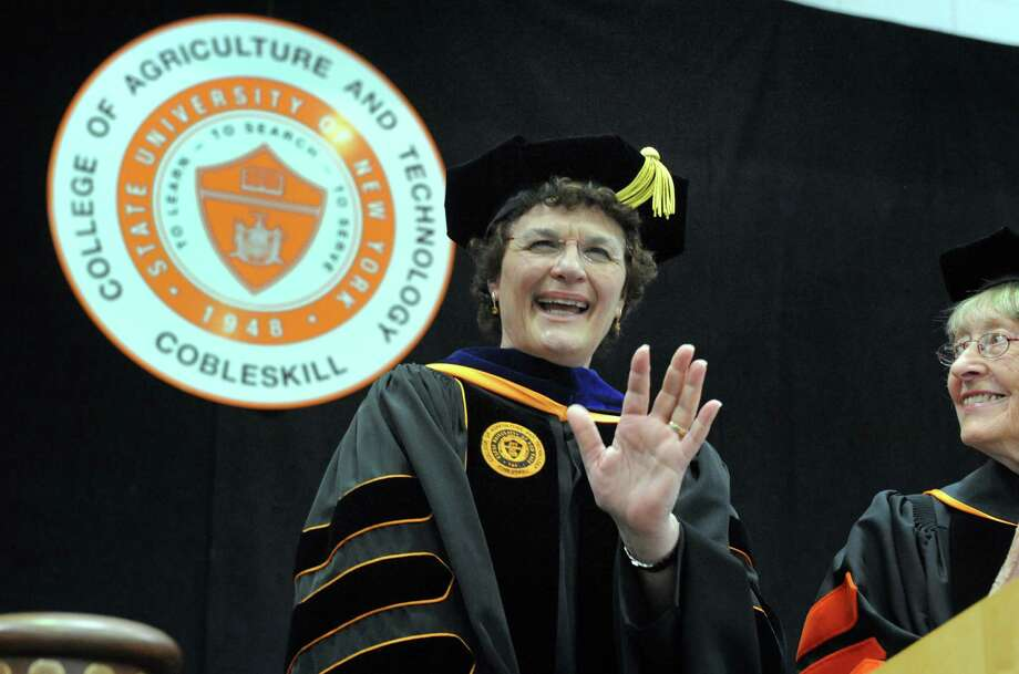 Marion A. Terenzio, the first female permanent president of SUNY Cobleskill, was inaugurated on Friday, April 8, 2016, in Cobleskill, N.Y.  (Michael P. Farrell/Times Union) Photo: Michael P. Farrell / 20035951A