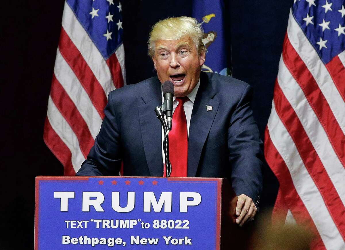 Republican presidential candidate Donald Trump speaks during a campaign rally, Wednesday, April 6, 2016, in Bethpage, N.Y. (AP Photo/Julie Jacobson) ORG XMIT: NYJJ123