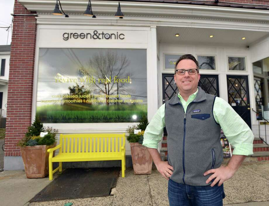 Jeffrey Pandolfino, owner of Green & Tonic, in front of his Strickland Road store in the Cos Cob section of Greenwich Conn., Friday, April 8, 2016. Green & Tonic, a purveyor of plant-based foods and drinks, is opening a Westport location in May and has received more funding. Photo: Bob Luckey Jr. / Hearst Connecticut Media / Greenwich Time