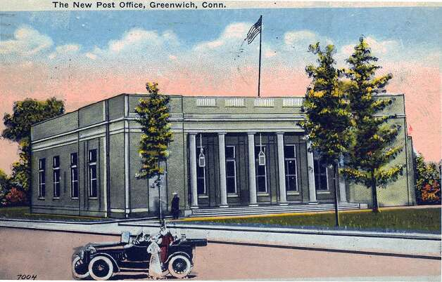 "A postcard showing the ""new post office"" on Greenwich Avenue, circa 1917. Photo courtesy of the Greenwich Historical Society. Photo: Contributed Photo / Greenwich Time Contributed"