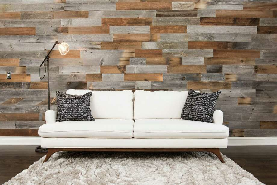 The Artis Wall, a set of wooden planks and adhesive strips, allows you to install an accent wall with just a few tools. / JUSTIN KETCHEM PHOTOGRAPHY