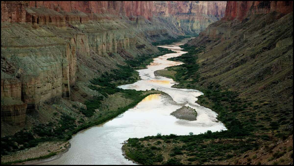 """View downstream from the Nankoweap Granaries, Grand Canyon, Mile 52 from """"The Colorado: A Film Oratorio."""""""