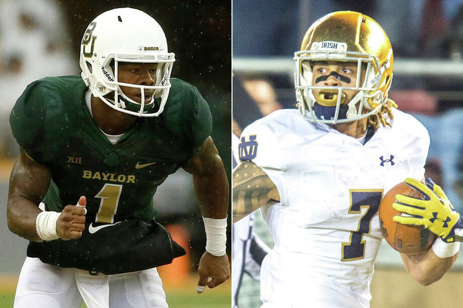 Do our NFL experts like Baylor's Corey Coleman (left) or Notre Dame's Will Fuller to land to the Texans at No. 22 in this year's NFL draft?Click through the gallery to see John McClain and Aaron Wilson's latest mock draft.