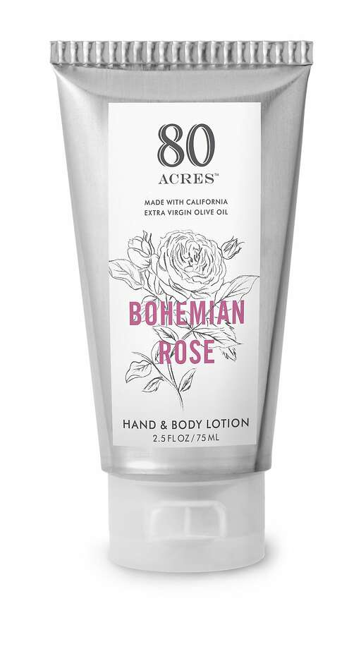 80 Acres body care products, crafted in small batches in Northern California by McEvoy Ranch, are made with McEvoy Ranch organic olive oil and are free of sulfates, parabens and phthalates and are not tesed on animals. The new Bohemian Rose collection balances rose absolute with orange blossom, geranium essential oil, and ylang-ylang essential oil. $19-$40; www.mcevoyranch.com. Photo: 80 Acres