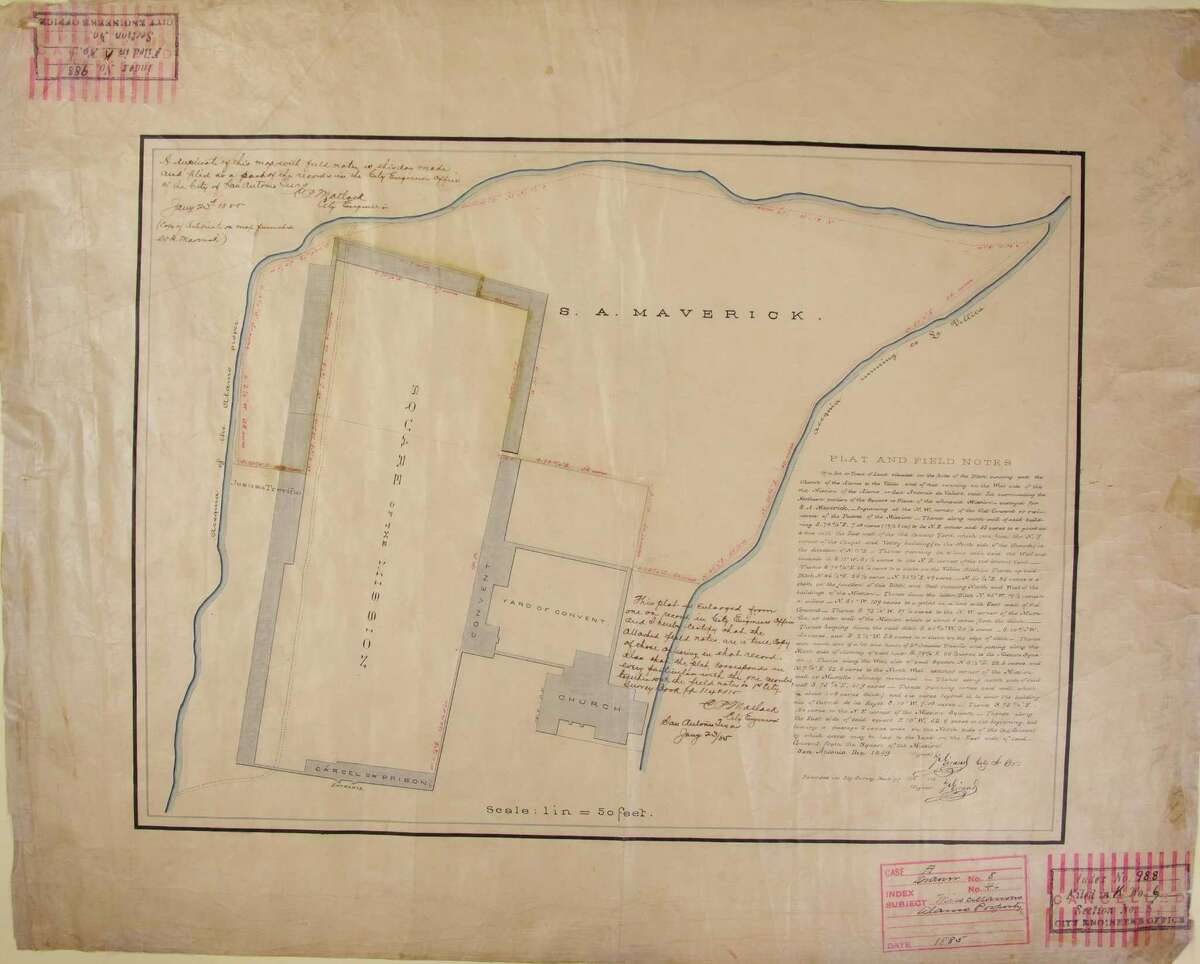 City officials recently found this 1849 plat map produced by Francois Giraud, the first city surveyor, with field notes that provide degrees, pitches, measurements and other details about the Alamo buildings and walls that remained standing or had been leveled shortly after the 1836 battle. COURTESY CITY CLERK'S OFFICE