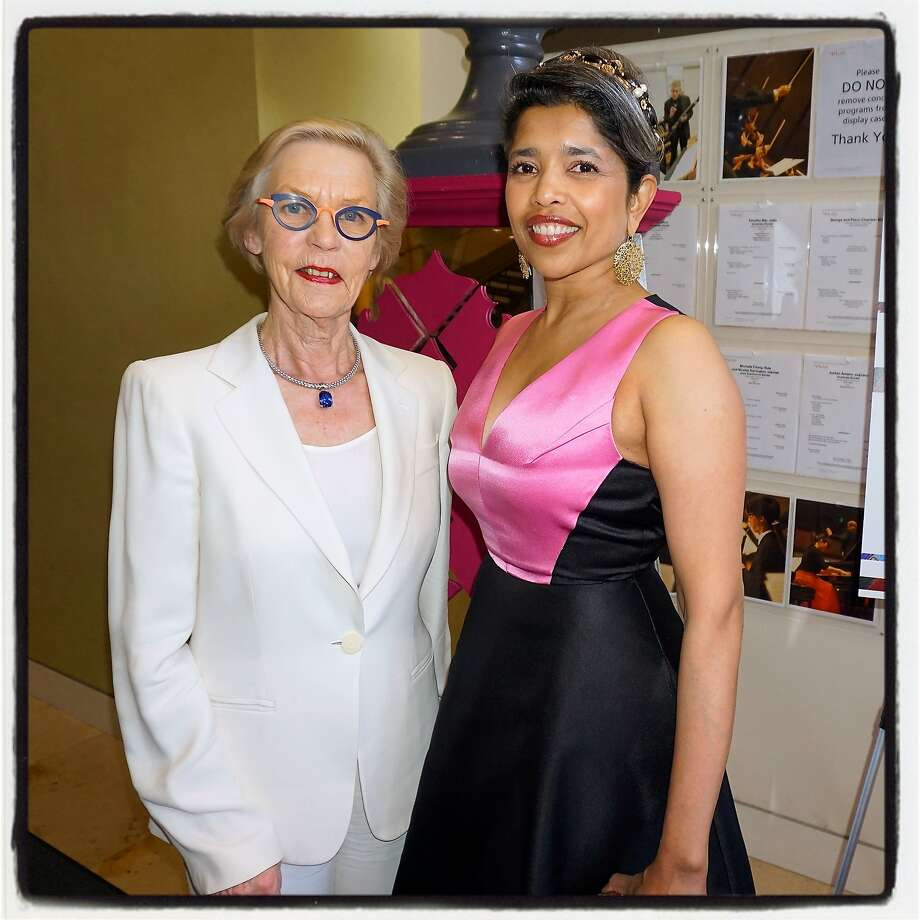 Giving Gala co-chairs Barbro Osher (left) and Deepa Pakianathan at the San Francisco Conservatory of Music. Photo: Catherine Bigelow, Special To The Chronicle