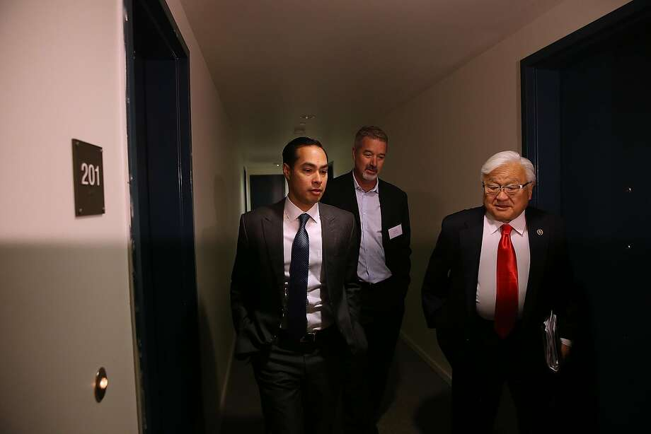 SUNNYVALE, CALIFORNIA - APRIL 08:  Housing and Urban Development secretary Julian Castro (L) and U.S. Rep Mike Honda (D-CA) (R) tour a new affordable housing facility on April 8, 2016 in Sunnyvale, California. HUD secretary Julian Castro and U.S. Rep Mike Honda (D-CA) toured a new affordable housing facility aimed at helping recently homeless vets.  (Photo by Justin Sullivan/Getty Images) Photo: Justin Sullivan, Getty Images