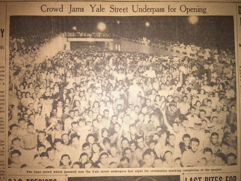 Houston Press coverage of the opening of the Yale Street underpass in August 1937.