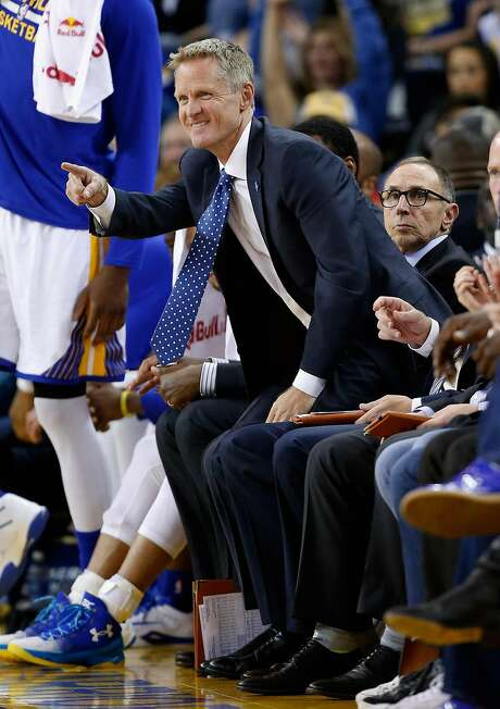 OAKLAND, CA - APRIL 03:  Head coach Steve Kerr of the Golden State Warriors reacts on the bench during their game against the Portland Trail Blazers at ORACLE Arena on April 3, 2016 in Oakland, California. NOTE TO USER: User expressly acknowledges and agrees that, by downloading and or using this photograph, User is consenting to the terms and conditions of the Getty Images License Agreement.  (Photo by Ezra Shaw/Getty Images) Photo: Ezra Shaw, Getty Images