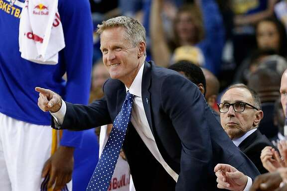 OAKLAND, CA - APRIL 03:  Head coach Steve Kerr of the Golden State Warriors reacts on the bench during their game against the Portland Trail Blazers at ORACLE Arena on April 3, 2016 in Oakland, California. NOTE TO USER: User expressly acknowledges and agrees that, by downloading and or using this photograph, User is consenting to the terms and conditions of the Getty Images License Agreement.  (Photo by Ezra Shaw/Getty Images)