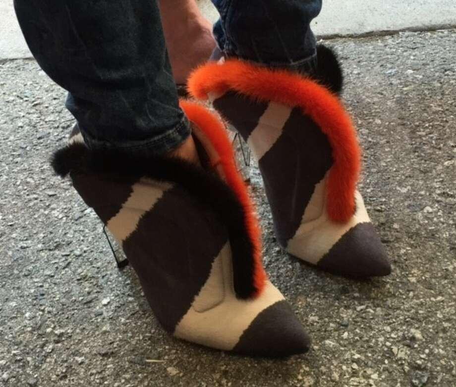 Sonya Molodetskaya's Fendi shoes at Giants Opening Day