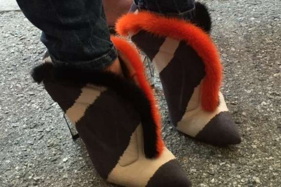 Sonya Molodetskaya's Fendi shoes at Giants Opening Day
