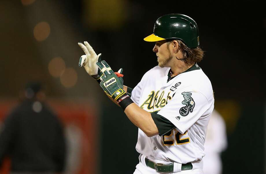 Josh Reddick #22 of the Oakland Athletics reacts after he hit a single in the third inning against the Chicago White Sox on Opening Day at The Coliseum on April 4, 2016 in Oakland, California. Photo: Ezra Shaw, Getty Images