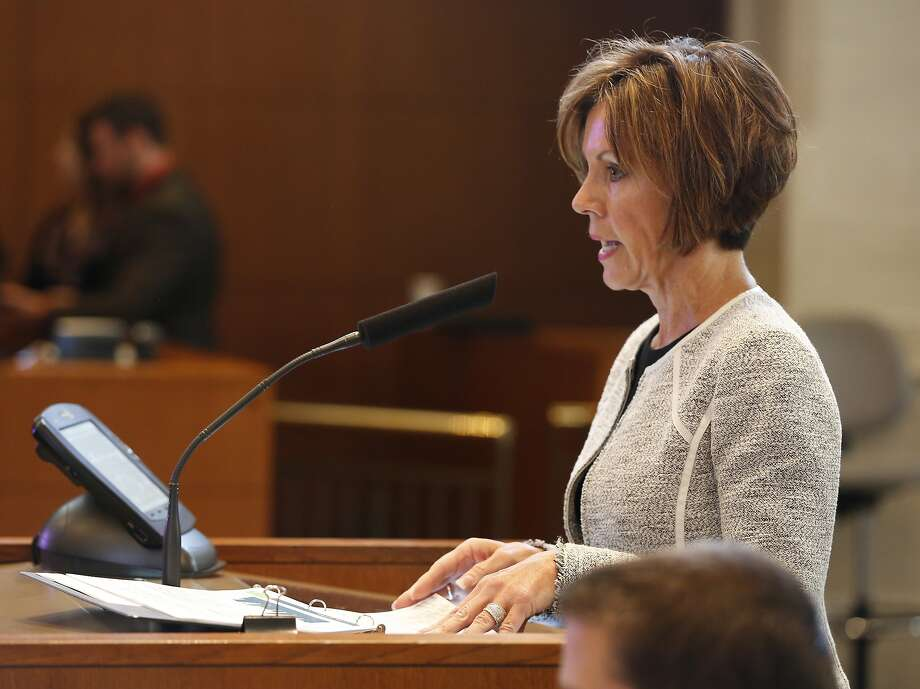 San Antonio City Manager Sheryl Sculley presents her proposed 2015 fiscal year city budget Thursday morning Aug. 7, 2014 in City Council Chambers to the city council. Photo: William Luther, San Antonio Express-News