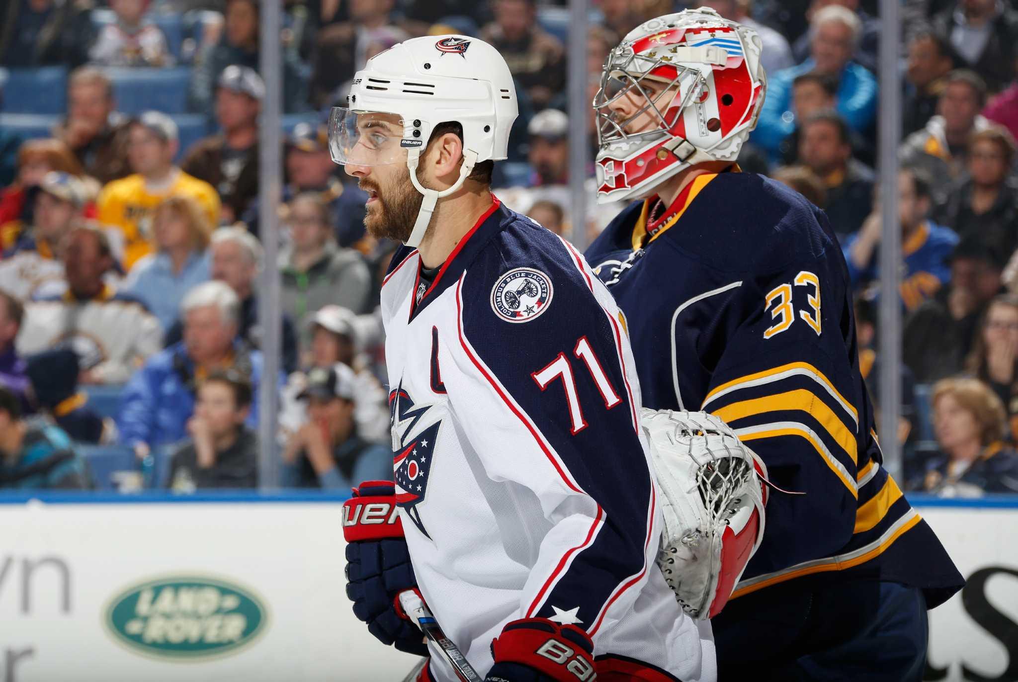 bb5c6ebaf ... columbus blue jackets hockey jerseys 71 nick foligno 20 brandon saad 72  RPIs Kasdorf has NHL debut spoiled - Times Union ...
