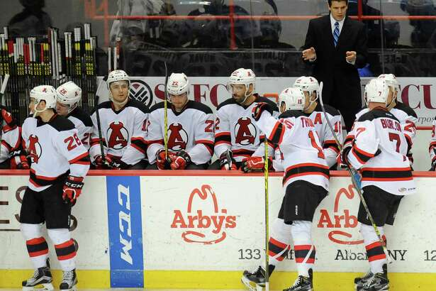 Albany Devils' head coach Rick Kowalsky instructs hius players against the   Providence Bruins' during the second period of an AHL hockey game in Albany, N.Y., Tuesday, Feb. 9, 2016. (Hans Pennink / Special to the Times Union) ORG XMIT: HP104