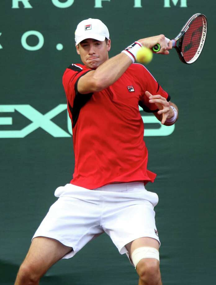 John Isner didn't take much pleasure in the fact that he set a tournament match record with 35 aces. Photo: Gary Coronado, Staff / © 2015 Houston Chronicle
