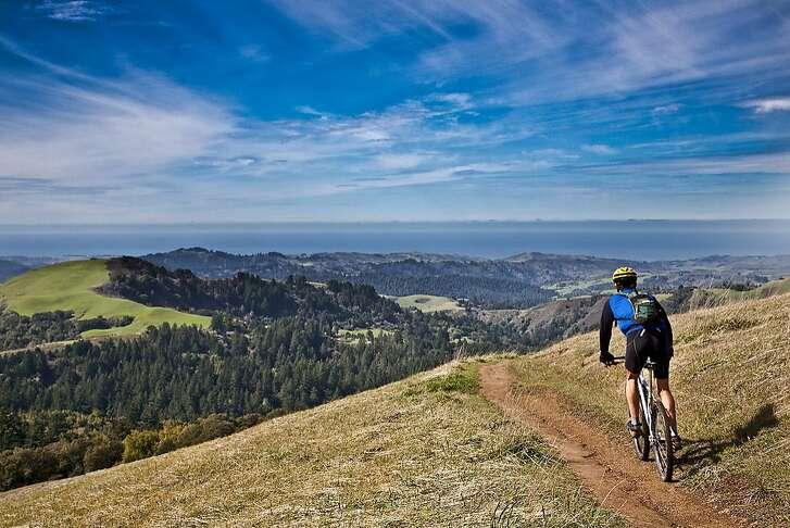 A mountain biker rides out toward coast at Russian Ridge Open Space Preserve