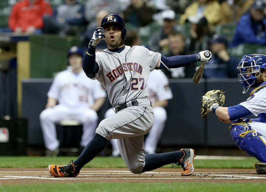 MILWAUKEE, WI - APRIL 8:  Jose Altuve #27 of Houston Astros misses a pitch during the first inning against the Milwaukee Brewers during the game at Miller Park April 8, 2016 in Milwaukee, Wisconsin. (Photo by Dylan Buell/Getty Images) Photo: Dylan Buell, Stringer / 2016 Getty Images