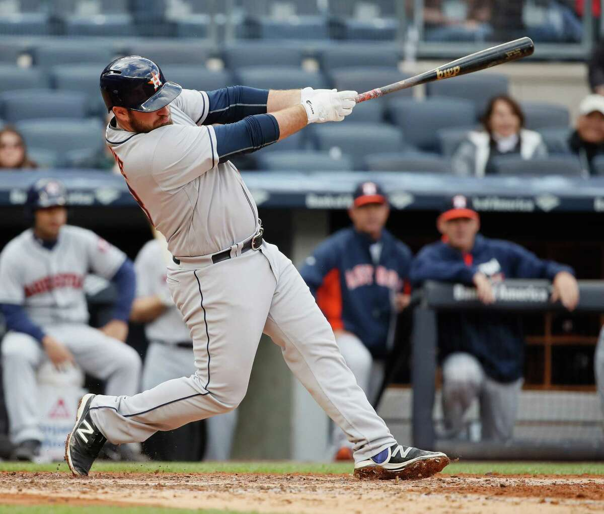 NEW YORK, NY - APRIL 07: Tyler White #13 of the Houston Astros hits a two run single against the New York Yankees in the fourth inning during their game at Yankee Stadium on April 7, 2016 in New York City.