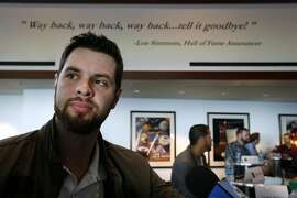 First baseman Brandon Belt meets with sports reporters at AT&T Park in San Francisco, Calif. on Friday, Feb. 12, 2016, in advance of the Giants' annual FanFest event.